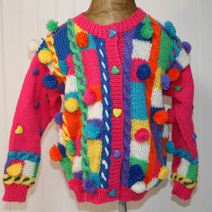 VINTAGE RACHEL'S KIDS Pom Pom Sweater Cardigan